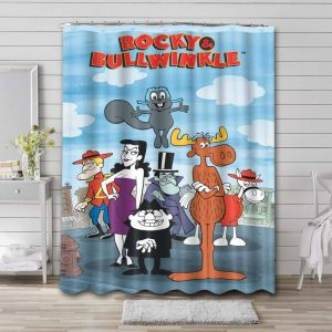 Rocky and Bullwinkle Cartoon Shower Curtain Waterproof Polyester