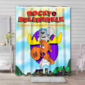 Rocky and Bullwinkle Shower Curtain Waterproof Polyester