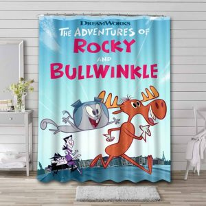 Rocky and Bullwinkle Characters Waterproof Bathroom Shower Curtain