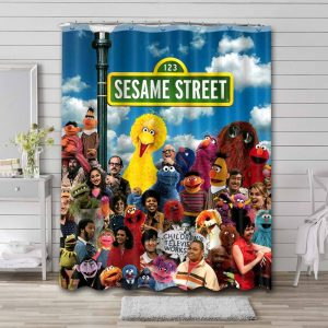 Sesame Street All Characters Shower Curtain Waterproof Polyester