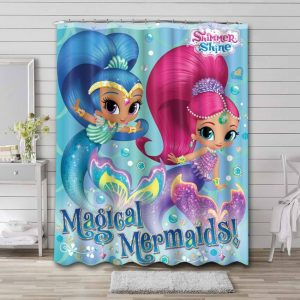 Shimmer and Shine Shower Curtain Bathroom Decoration Waterproof Polyester Fabric.