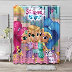 Shimmer and Shine Characters Shower Curtain Bathroom Waterproof
