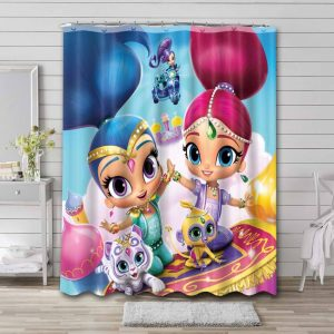 Shimmer and Shine Characters Shower Curtain Bathroom Decoration
