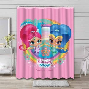 Shimmer and Shine Characters Shower Curtain Waterproof Polyester