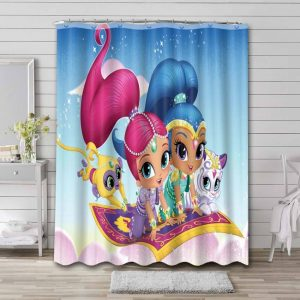 Shimmer and Shine Characters Bathroom Shower Curtain Waterproof