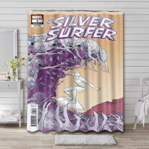 Silver Surfer Comic Shower Curtain Waterproof Polyester