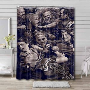 Sons of Anarchy Characters Shower Curtain Bathroom Decoration
