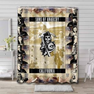Sons of Anarchy Characters Bathroom Shower Curtain Waterproof