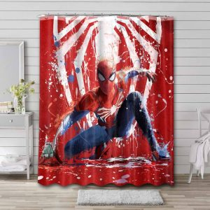 Spider-Man PS4 Shower Curtain Waterproof Polyester