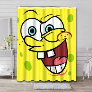 SpongeBob Funny Faces Shower Curtain Waterproof Polyester