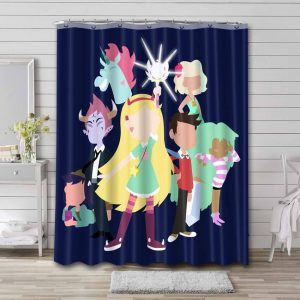 Star vs. the Forces of Evil All Characters Bathroom Curtain Shower Waterproof