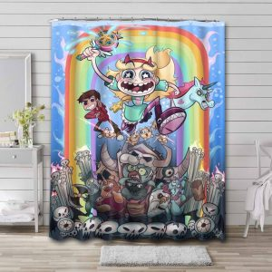 Star vs. the Forces of Evil Characters Shower Curtain Bathroom Waterproof