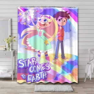 Star vs. the Forces of Evil Kids Shower Curtain Waterproof Polyester