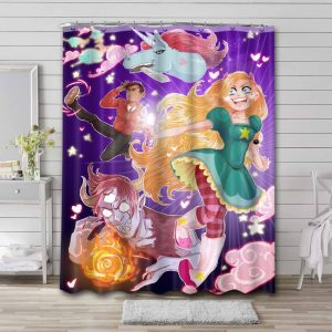 Star vs. the Forces of Evil Characters Bathroom Shower Curtain Waterproof