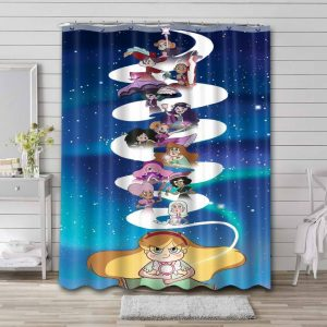 Star vs. the Forces of Evil Characters Bathroom Curtain Shower Waterproof