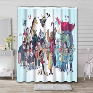 Star vs. the Forces of Evil Characters Waterproof Curtain Bathroom Shower