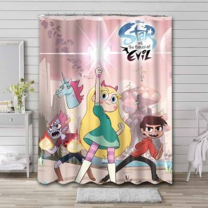 Star vs. the Forces of Evil Cartoon Shower Curtain Waterproof Polyester