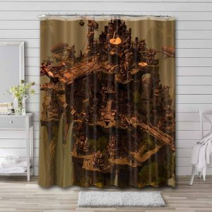 Steampunk City Shower Curtain Waterproof Polyester