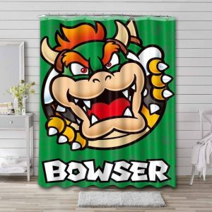 Super Mario Bowser Shower Curtain Waterproof Polyester