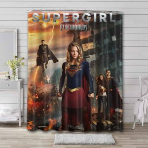 Supergirl Characters Series Shower Curtain Bathroom Decoration