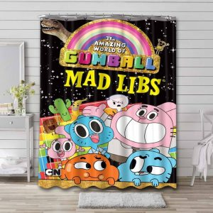 The Amazing World of Gumball Shower Curtain Bathroom Decoration Waterproof Polyester Fabric.