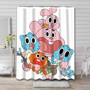 The Amazing World of Gumball Characters Waterproof Shower Curtain Bathroom