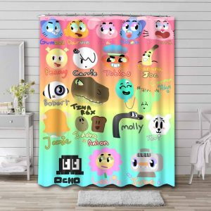 The Amazing World of Gumball Characters Waterproof Curtain Bathroom Shower