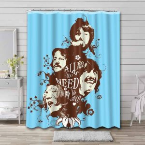 The Beatles Rock Band Shower Curtain Waterproof Polyester