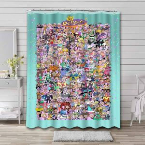 The Fairly OddParents All Characters Waterproof Shower Curtain Bathroom