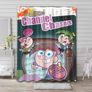 The Fairly OddParents Chanel Chasers Bathroom Shower Curtain Waterproof