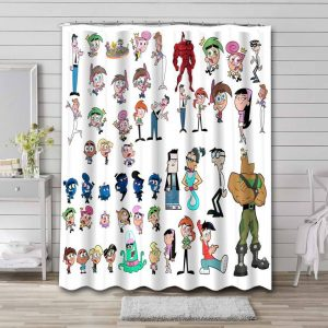 The Fairly OddParents Characters Bathroom Curtain Shower Waterproof