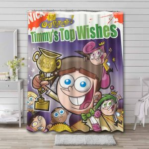 The Fairly OddParents Tim Top Wishes Bathroom Curtain Shower Waterproof