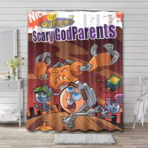 The Fairly OddParents Scary Godparents Waterproof Curtain Bathroom Shower