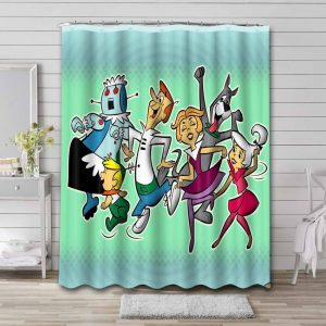 The Jetsons Characters Shower Curtain Bathroom Waterproof