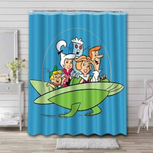 The Jetsons Characters Waterproof Shower Curtain Bathroom