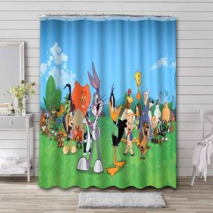 Looney Tunes Characters Shower Curtain Waterproof Polyester