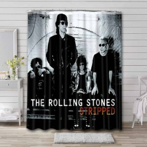 The Rolling Stones Stripped Bathroom Shower Curtain Waterproof