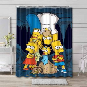 The Simpsons Show Shower Curtain Waterproof Polyester
