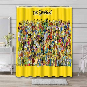 The Simpsons Characters Shower Curtain Bathroom Decoration
