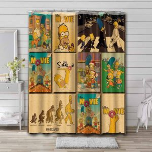 The Simpsons Movie Shower Curtain Waterproof Polyester