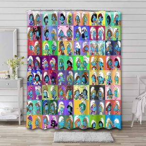 The Smurfs Characters Shower Curtain Bathroom Decoration
