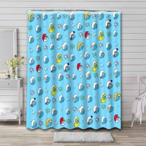 The Smurfs Characters Shower Curtain Waterproof Polyester
