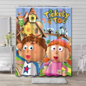 Tickety Toc Shower Curtain Bathroom Decoration Waterproof Polyester Fabric.