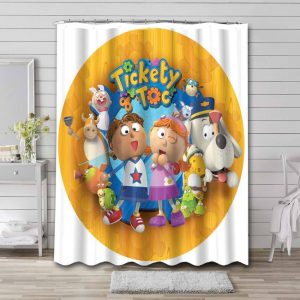 Tickety Toc Cartoon Shower Curtain Waterproof Polyester