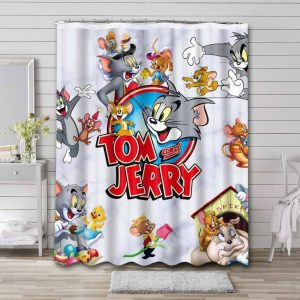Tom and Jerry Bathroom Shower Curtain Waterproof