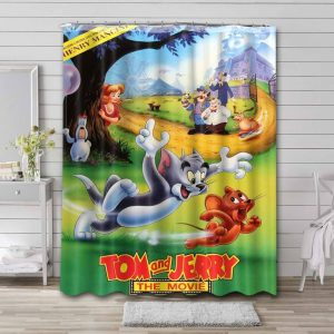 Tom and Jerry The Movie Waterproof Shower Curtain Bathroom