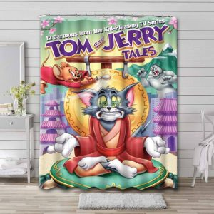 Tom and Jerry Tales Waterproof Bathroom Shower Curtain