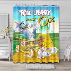 Tom and Jerry Back To Oz Bathroom Curtain Shower Waterproof