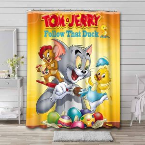 Tom and Jerry Follow That Duck Shower Curtain Bathroom Waterproof