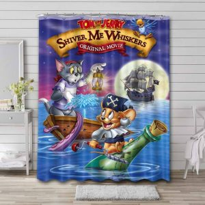 Tom and Jerry Shiver Me Whiskers Shower Curtain Bathroom Decoration